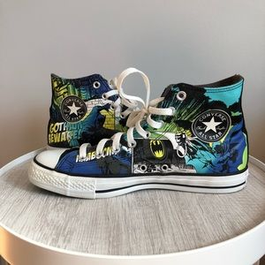 Converse Batman Black,Green & Blue High Top Shoes